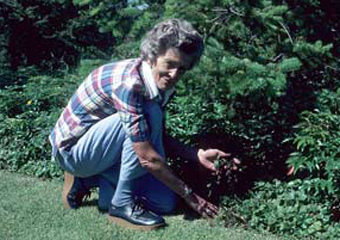 Betty Miller in her garden
